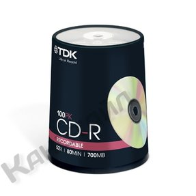 Диск TDK CD-R 700Mb 52x Cake/100
